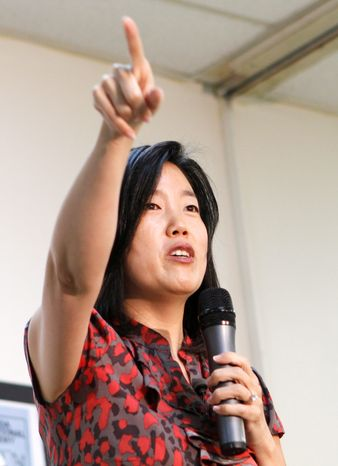 """""""Our educators, our kids and our families are forced to operate in a ridiculous bureaucracy,"""" Michelle Rhee, here in 2011, said Monday after StudentsFirst released a report card on education policies. (Associated Press)"""