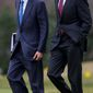 President Obama (right) and his chief of staff, Jack Lew, confer. Mr. Lew, who previously served as the president's Office of Management and Budget chief, is said to be under consideration for Treasury secretary. (Associated Press)