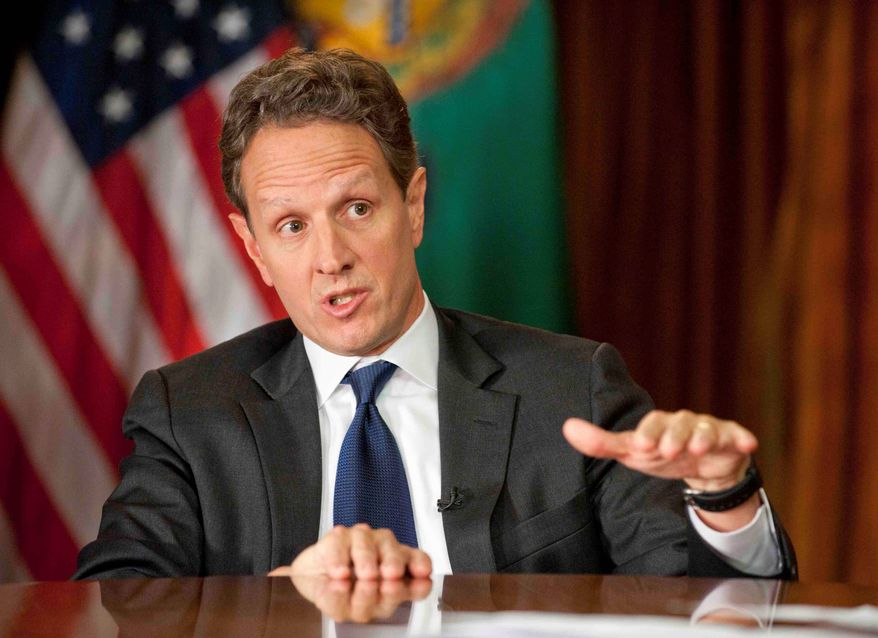 """Treasury Secretary Timothy F. Geithner, seen here Dec. 2 on CBS' """"Face the Nation,"""" probably won't step down until after all the budget issues that remain in the wake of the """"fiscal cliff"""" deal are resolved. (Associated Press)"""