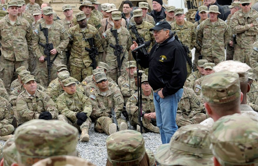 Defense Secretary Leon E. Panetta, soon to step down, addresses the troops during a visit to Kandahar airfield in Kandahar, Afghanistan, on Dec. 13. (Associated Press)
