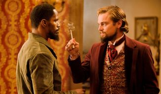 "Jamie Foxx and Leonardo DiCaprio star in the film ""Django Unchained,"" which is drawing protests for its action figures. (Weinstein Co. via Associated Press)"