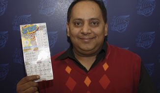 Urooj Khan, 46, of Chicago's West Rogers Park neighborhood poses with his winning lottery ticket. The Cook County medical examiner said on Monday, Jan. 7, 2013, that Khan was fatally poisoned with cyanide July 20, 2012, a day after he collected nearly $425,000 in lottery winnings. (AP Photo/Illinois Lottery)