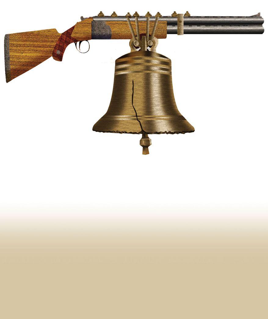 Illustration Gun Control by Alexander Hunter for The Washington Times