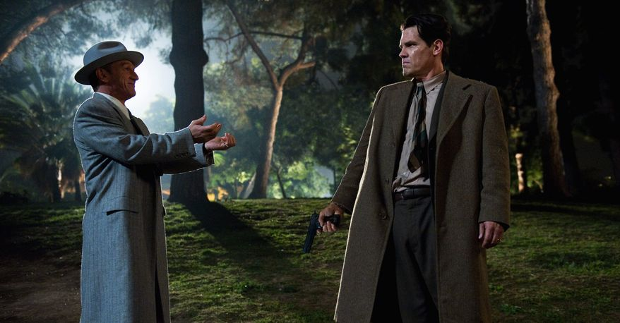 """This publicity film image released by Warner Bros. Pictures shows Sean Penn (left) as Mickey Cohen and Josh Brolin as Sgt. John O'Mara in the film, """"Gangster Squad."""" (Warner Bros. Pictures via Associated Press)"""