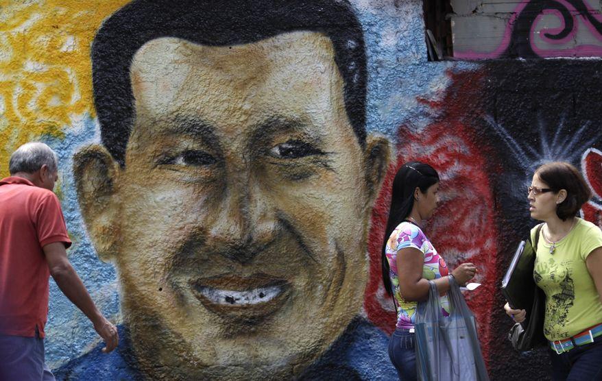 A mural of Venezuelan President Hugo Chavez decorates a wall in Caracas, Venezuela, on Jan. 9, 2013. (Associated Press)