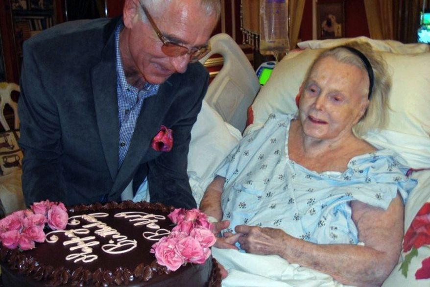 ** FILE ** Hungarian-born actress Zsa Zsa Gabor celebrates her 94th birthday with her husband, Frederic von Anhalt, at her mansion in the Bel Air section of Los Angeles on Feb. 6, 2011. (AP Photo/John Blanchette)