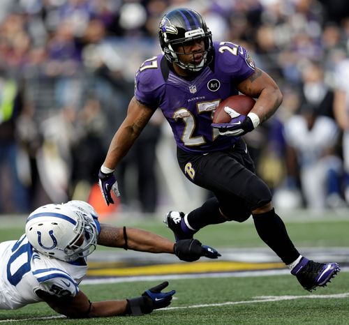 """Instead of overworking running back Ray Rice during the regular season, the Ravens limited his carries so he would be healthy when it mattered. Heading into Saturday's playoff game in Denver, Rice says, """"This is the best I've ever felt."""" (Associated Press)"""