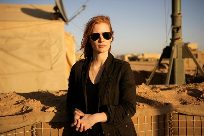 """Jessica Chastain is up for a best actress Oscar for her work in """"Zero Dark Thirty,"""" directed by Kathryn Bigelow, who was not nominated. (Columbia Pictures via Associated Press)"""
