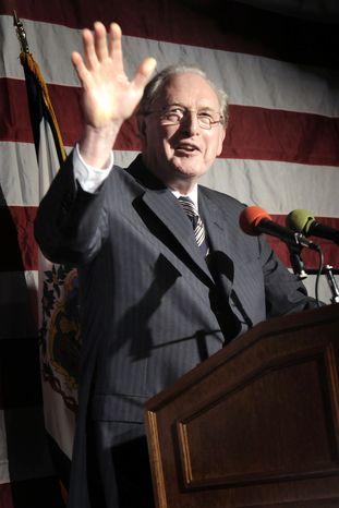 **FILE** Sen. Jay Rockefeller, West Virginia Democrat, speaks Nov. 2, 2010, in Charleston, W.Va., at a U.S. Senate election party for Gov. Joe Manchin. (Associated Press)