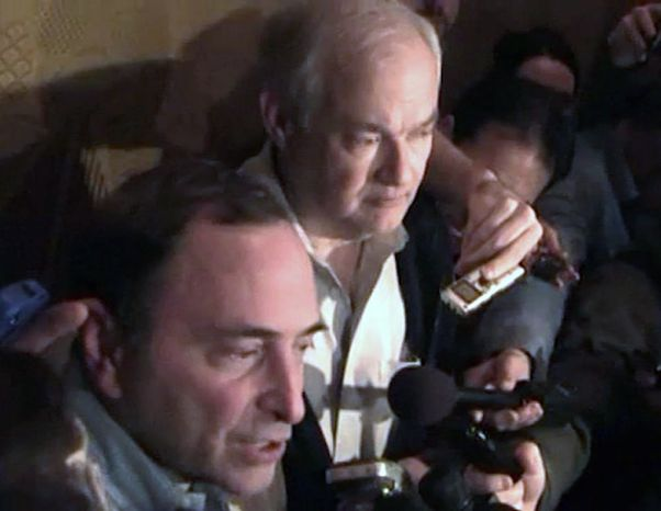** FILE ** In this image from video, NHL commissioner Gary Bettman, left, talks to the media as Donald Fehr, executive director of the NHL Players' Association, stands next to him, in New York, early Sunday, Jan. 6, 2013.  (AP Photo/The Canadian Press, Chris Johnston)