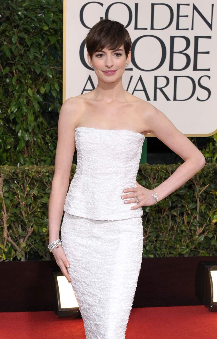 Actress Anne Hathaway arrives at the 70th Annual Golden Globe Awards at the Beverly Hilton Hotel on Sunday, Jan. 13, 2013, in Beverly Hills, Calif. (Photo by John Shearer/Invision/AP)