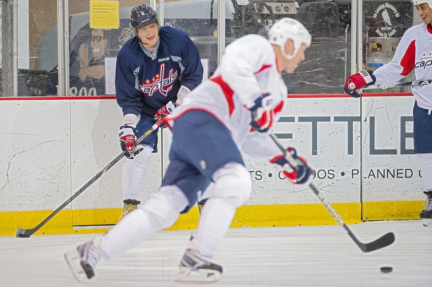 Alex Ovechkin, left, works out with Washington Capitals teammates at Kettler Capitals Iceplex, Arlington,Va., Tuesday, January 8, 2013. (Andrew Harnik/The Washington Times)