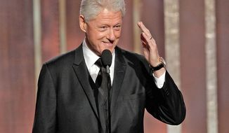 Former President Bill Clinton is everywhere these days, Sunday night's Golden Globe Awards. (Associated Press)