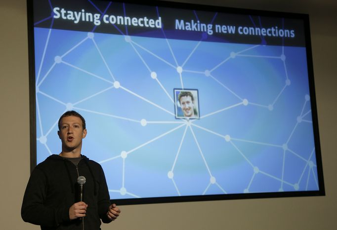 Facebook CEO Mark Zuckerberg speaks about Facebook Graph Search at Facebook headquarters in Menlo Park, Calif., on Tuesday, Jan. 15, 2013. The new service lets users search their social connections for information about their friends' interests, and for photos and places. (Associated Press)