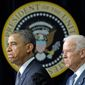 """""""This is our first task as a society, keeping our children safe,"""" President Obama said Wednesday as he and Vice President Joseph R. Biden announced their legislative and executive agenda to curb gun violence in America. (Associated Press)"""