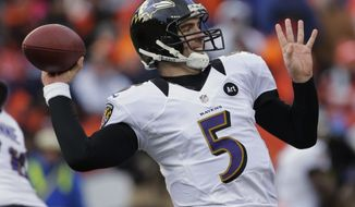 Baltimore Ravens quarterback Joe Flacco passes against the Denver Broncos in the second quarter of an AFC divisional playoff NFL football game, Saturday, Jan. 12, 2013, in Denver. (AP Photo/Charlie Riedel)