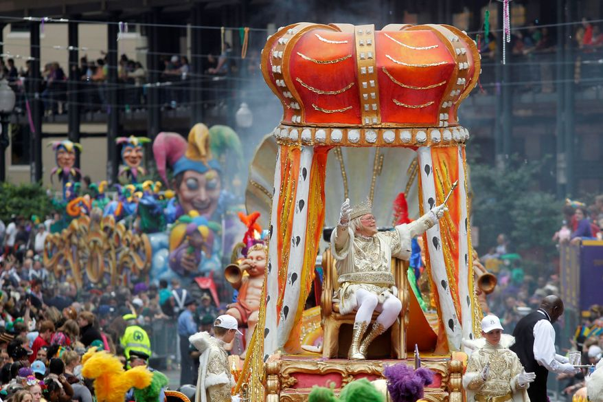 "Rex, the King of Carnival, will make his traditional Mardi Gras appearance in New Orleans. With the Super Bowl on Feb. 3 and Mardi Gras falling nine days later, the Big Easy is gearing up for a massive celebration and influx of tourists that locals are calling ""Super Gras."" (Associated Press)"