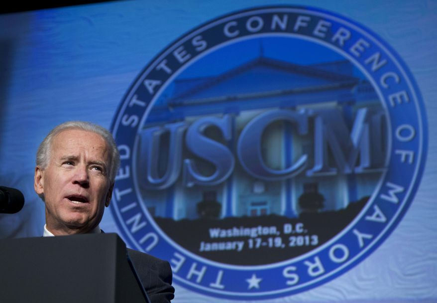 Vice President Joseph R. Biden addresses the U.S. Conference of Mayors 81st winter meeting in Washington, Thursday, Jan. 17, 2013. (AP Photo/Manuel Balce Ceneta)