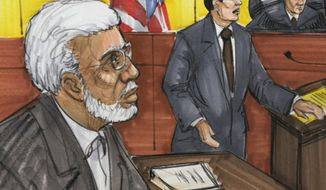 ** FILE ** Chicago businessman Tahawwur Rana (left) appears in federal court in Chicago in a June 7, 2011, courtroom sketch. (AP Photo/Tom Gianni)