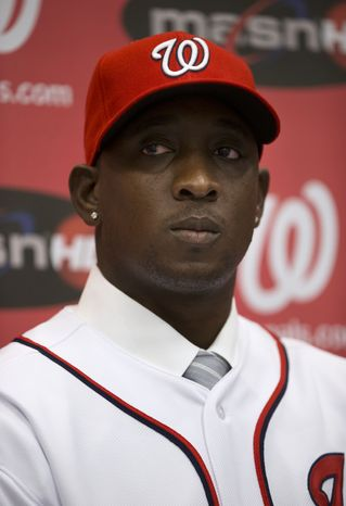 Newly acquired Washington Nationals pitcher Rafael Soriano pauses during an introductory news conference at Nationals Park, Thursday, Jan. 17, 2013, in Washington. (AP Photo/ Evan Vucci)