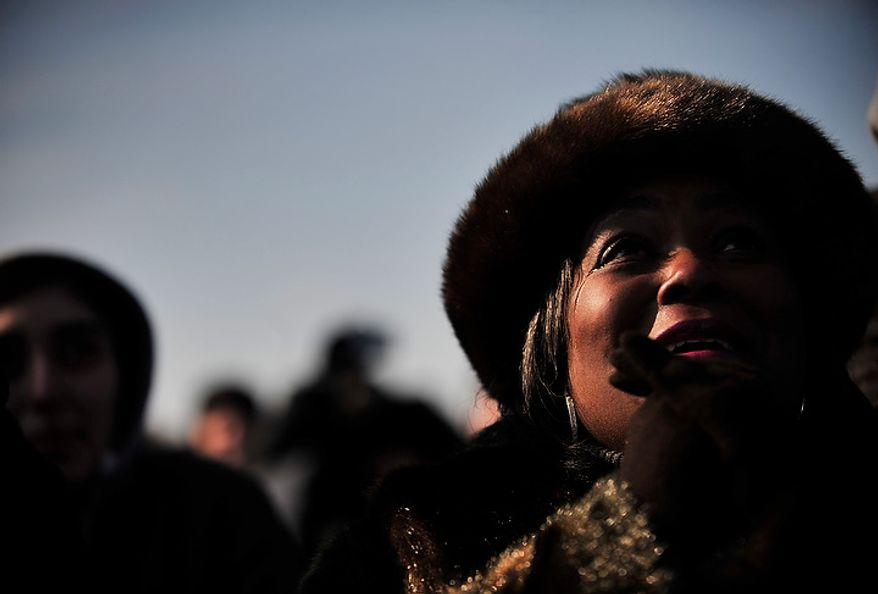 Dayna Brooks of Louisville, Kentucky shows her feelings on inauguration day on the National Mall in Washington D.C., Tuesday, Jan. 20, 2009.  (Allison Shelley / The Washington Times)