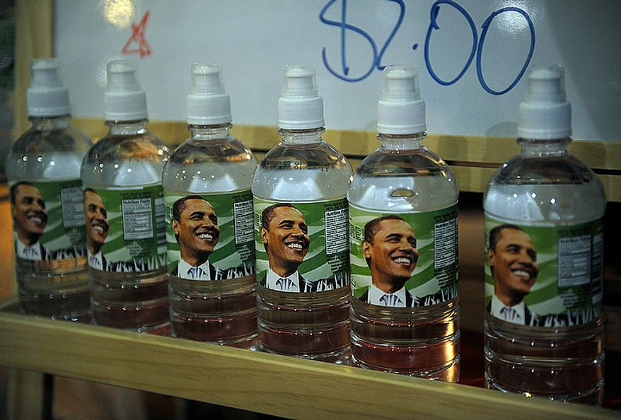 """So-called """"Obama Water"""" is on sale at the Smartkarte at Farrugut North on Inauguration Day, Tuesday, Jan. 20, 2009. (Barbara L. Salisbury / The Washington Times)"""