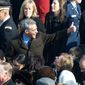 Former House Whip and new White House Chief of Staff Rahm Emmanuel gives the thumbs up to House Democrats before the arrival of President-elect Barack Obama at the West Front of the U.S. Capitol in Washington, D.C., to be sworn in as the 44th President of the United States, Tuesday, January 20, 2009. (J.M. Eddins Jr. / The Washington Times)