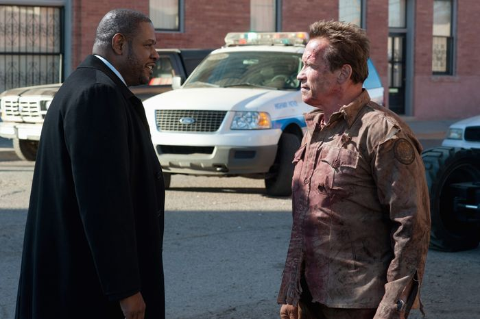 """Arnold Schwarzenegger steps back into the type of role he mastered in the 1980s in """"The Last Stand,"""" and the years show on his face. Forest Whitaker plays an FBI agent in the film. (Lionsgate via Associated Press)"""