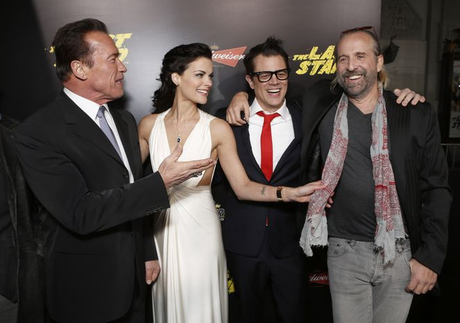 "** FILE ** Arnold Schwarzenegger, Jaimie Alexander, Johnny Knoxville and Peter Stormare attend the LA premiere of ""The Last Stand"" at Grauman's Chinese Theatre on Monday, Jan. 14, 2013, in Los Angeles. (Photo by Todd Williamson/Invision/AP)"