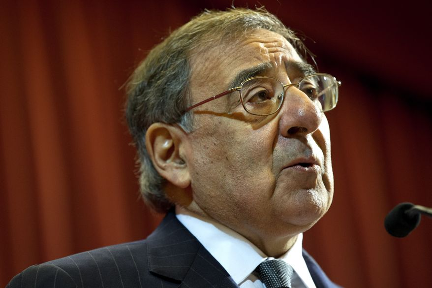 """U.S. Defense Secretary Leon Panetta speaks about the situation in Algeria, at the start of his remarks at King's College in London on Jan. 18, 2013, saying there will be """"no quarter for terrorists in North Africa."""" (Associated Press)"""