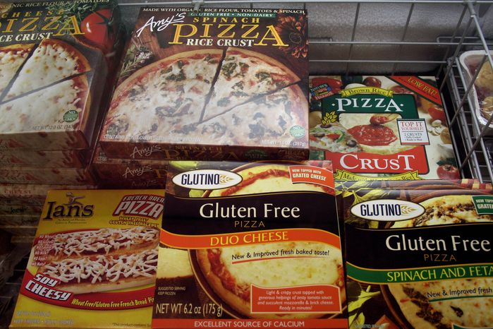 This photo from Nov. 11, 2008, shows gluten-free frozen pizza, one of hundreds of items at Gluten Free Trading Co. in Milwaukee. (Associated Press)