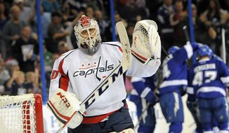 Washington Capitals goalie Braden Holtby reacts after allowing a goal by Tampa Bay Lightning right wing Martin St. Louis during the second period of an NHL hockey game Saturday, Jan. 19, 2013, in Tampa, Fla. (AP Photo/Brian Blanco)
