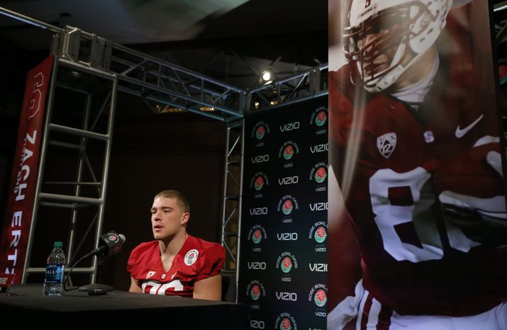 ** FILE ** Stanford tight end Zach Ertz talks to reporters during the Rose Bowl media day in Los Angeles, Saturday, Dec. 29, 2012. (AP Photo/Jae Hong)