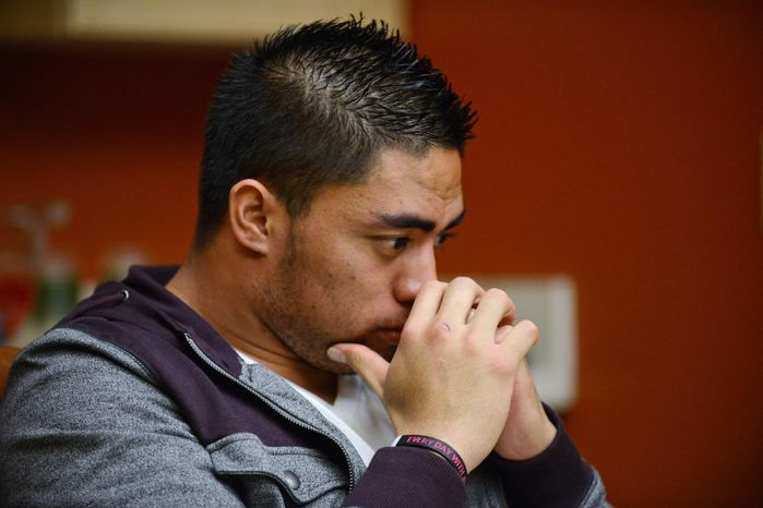 "In a photo provided by ESPN, Notre Dame linebacker Manti Te'o pauses during an interview with ESPN on Friday, Jan. 18, 2013, in Bradenton, Fla. ESPN says Te'o maintains he was never involved in creating the dead girlfriend hoax. He said in the off-camera interview: ""When they hear the facts they'll know. They'll know there is no way I could be a part of this."" (AP Photo/ESPN Images, Ryan Jones)"