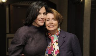 "Alexandra Pelosi (left), director of the HBO documentary film ""Fall to Grace,"" poses with her mother, House Minority Leader Nancy Pelosi, before a screening of the movie at the 2013 Sundance Film Festival on Friday, Jan. 18, 2013, in Park City, Utah. (Chris Pizzello/Invision/AP) ** FILE **"