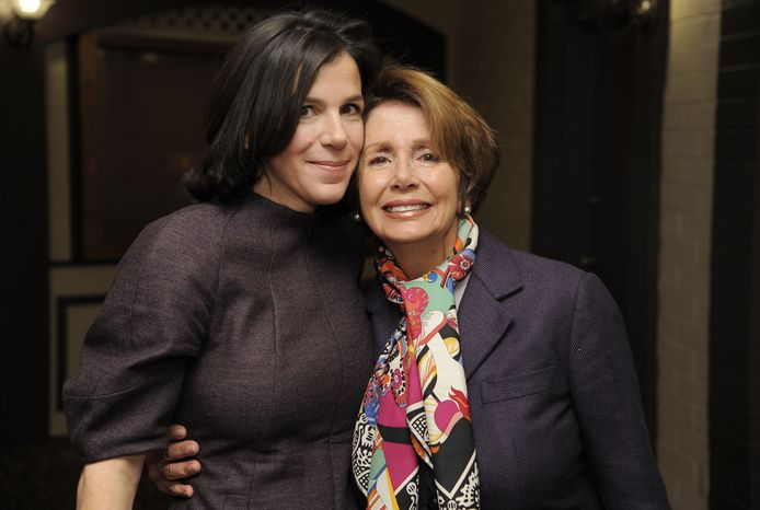 """Alexandra Pelosi (left), director of the HBO documentary film """"Fall to Grace,"""" poses with her mother, House Minority Leader Nancy Pelosi, before a screening of the movie at the 2013 Sundance Film Festival on Friday, Jan. 18, 2013, in Park City, Utah. (Chris Pizzello/Invision/AP)"""