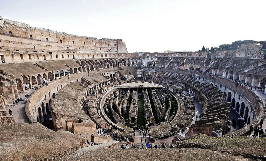 Tourists visiting the Roman Colosseum find a monochrome gray travertine rock, red brick and bits of moss-covered marble, but ancient traces of artwork in interior halls indicate that the arena where gladiators fought was ornate and colorful. (Associated Press)