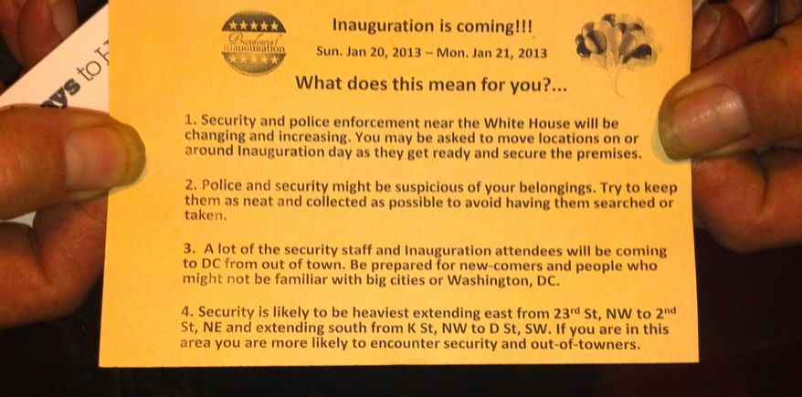 """A flier titled """"The Inauguration is Coming ... What does this mean for you?"""" tells the homeless that they """"may be asked to move locations on or around Inauguration Day as they get ready and secure the premises."""""""