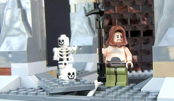 Malakili looks a little depressed in the Lego Star Wars Rancor Pit set. (Photograph by Joseph Szadkowski / The Washington Times)