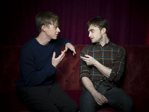 """Dane DeHaan (left) and Daniel Radcliffe, who appear in the film """"Kill Your Darlings,"""" pose for a portrait during the 2013 Sundance Film Festival at the Fender Music Lodge on Saturday, Jan. 19, 2013, in Park City, Utah. (Victoria Will/Invision/AP Images)"""