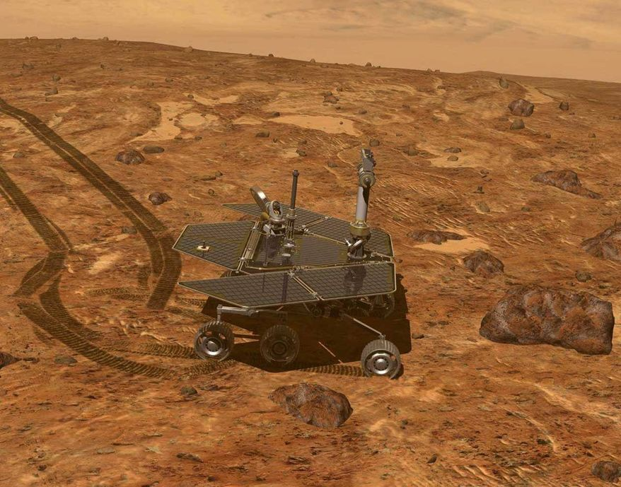 An artist's rendering shows Opportunity exploring the surface of Mars. The rover parachuted to the planet's southern hemisphere Jan. 24, 2004, and is still producing well past its expected life span. The snazzier Curiousity landed elsewhere on the planet five months ago. (NASA via Associated Press)