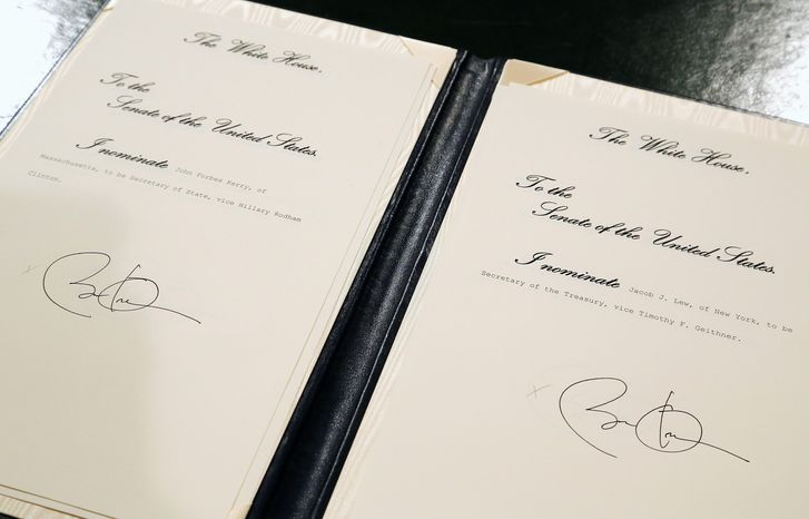 Mr. Obama minutes after the inaugural address signed documents nominating his top personnel choices for his second term in office. Among the nominations were John F. Kerry for secretary of state and Jack Lew for treasury secretary. (Associated Press)