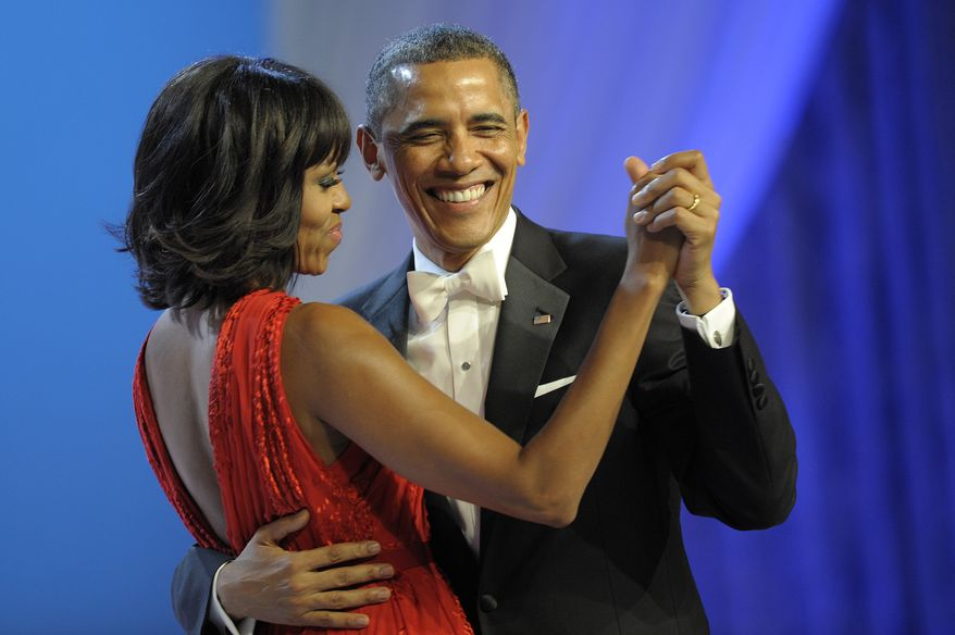 President Obama dances with first lady Michelle Obama during the Inaugural Ball at the Washignton Convention Center during the 57th Presidential Inauguration in Washington on Jan. 21, 2013. (Associated Press)