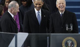 President Obama and Vice President Joseph R. Biden, with Sen. Charles E. Schumer (left), New York Democrat,  arrive at the ceremonial swearing-in at the U.S. Capitol during the 57th Presidential Inauguration in Washington on Monday, Jan. 21, 2013. (AP Photo/Pablo Martinez Monsivais)
