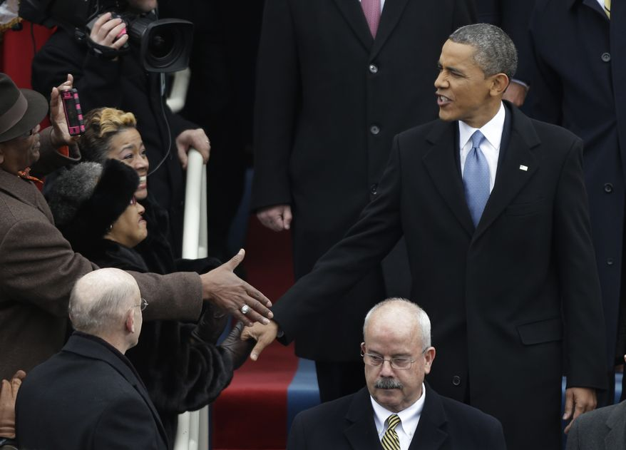 President Obama arrives for his ceremonial swearing-in at the U.S. Capitol during the 57th Presidential Inauguration in Washington on Monday, Jan. 21, 2013. (AP Photo/Pablo Martinez Monsivais)