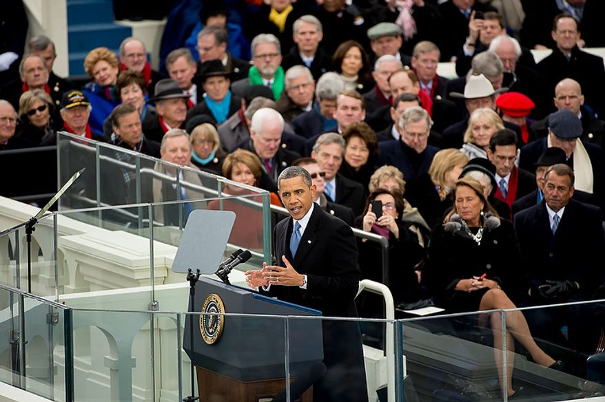 President Barack Obama speaks after being sworn in for his second term on the West Lawn of the U.S. Capitol Building at the 57th Presidential Inauguration Ceremony, Washington, D.C., Monday, January 21, 2013. (Andrew Harnik/The Washington Times)