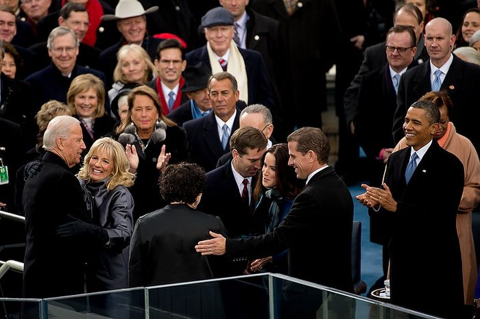 Vice President Joe Biden hugs his wife, Jill Biden after being sworn in for his second term on the West Lawn of the U.S. Capitol Building at the 57th Presidential Inauguration Ceremony, Washington, D.C., Monday, January 21, 2013. (Andrew Harnik/The Washington Times)