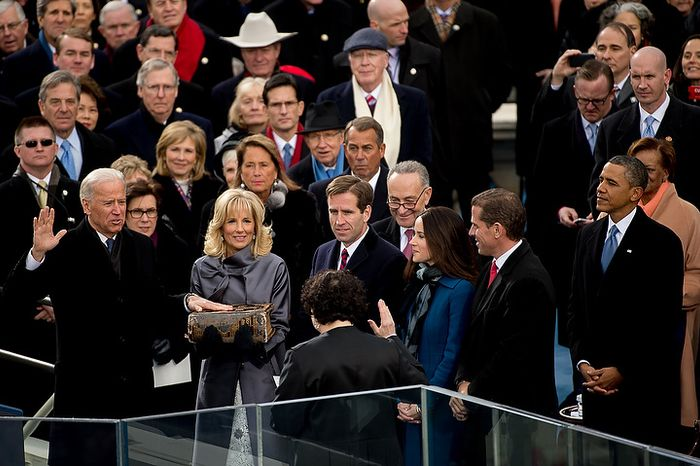 Vice President Joe Bidden is sworn in for his second term on the West Lawn of the U.S. Capitol Building at the 57th Presidential Inauguration Ceremony, Washington, D.C., Monday, January 21, 2013. (Andrew Harnik/The Washington Times)