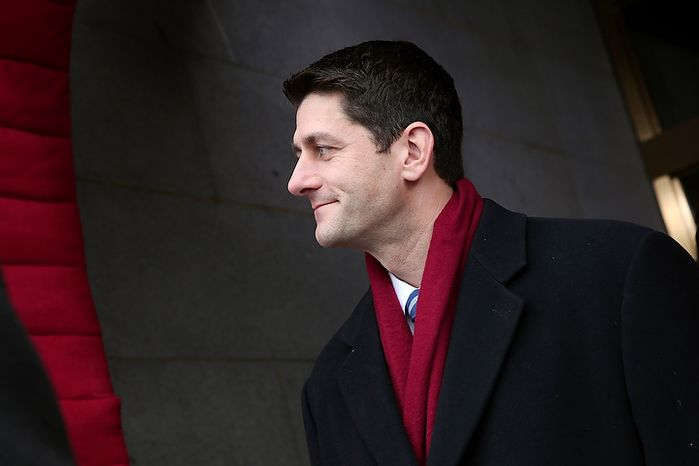 ** FILE ** Rep. Paul Ryan, Wisconsin Republican, arrives for the President Obama's inauguration on the West Front of the U.S. Capitol on Monday, Jan. 21, 2013, in Washington. (Win McNamee/Getty Images, Pool)