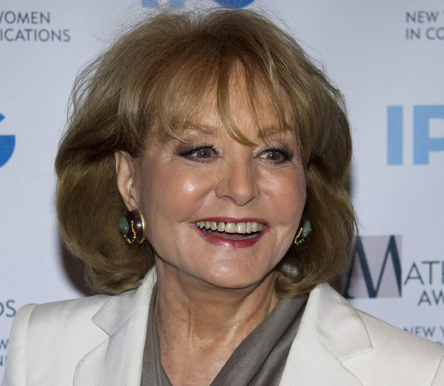 Veteran ABC newswoman Barbara Walters arrives at the Matrix Awards in New York on Monday, April 23, 2012. Miss Walters fell at an inauguration party in Washington and was hospitalized, according to an ABC News spokesman on Sunday, Jan. 20, 2013. (AP Photo/Charles Sykes)